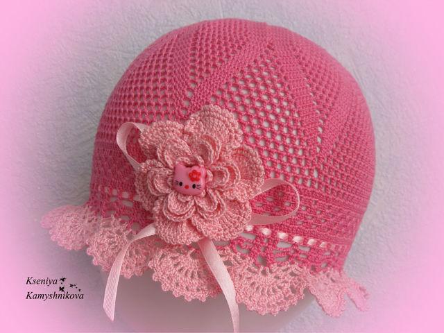 Вязание крючком летней шапочки для девочек со схемами