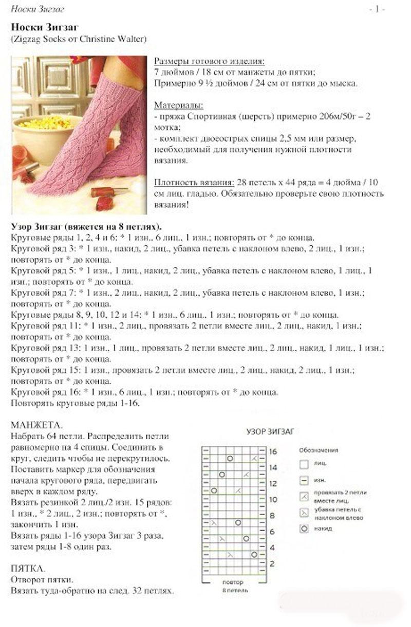 Ажурные носки спицами схемы с описанием: 25 тыс изображений