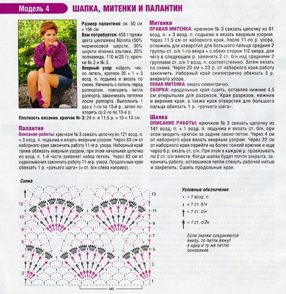 Схема вязания крючком палантин с подробным описанием