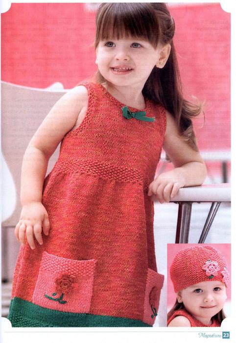 Вязаные детские платья. Почти 30 схем вязания детского