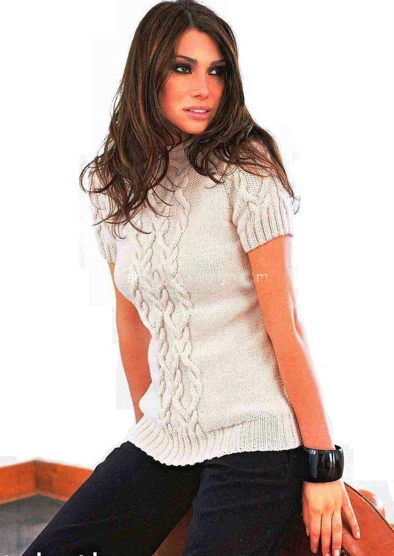 женский свитер с розами спицами схема